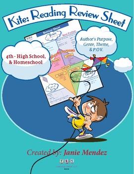 Kite:  Reading Review Sheet-Author's Purpose, Genre,Theme,  P.O.V.