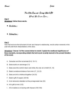 Kite Runner Group Work #4 (p.213-223)