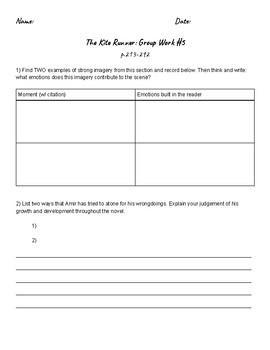 Kite Runner Group Work #5 (p.213-292)