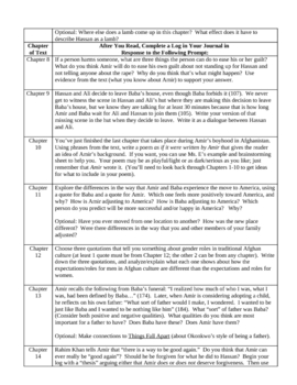 Kite Runner Log Prompts - Detailed Chapter Questions for Writing