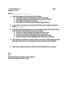 Kite Runner Quiz 17-18
