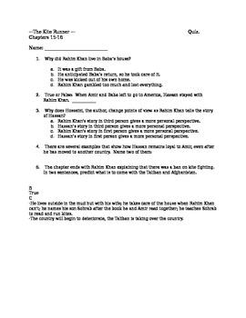 Kite Runner Quiz Chapters 15-16