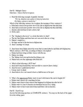 Kite Runner Quiz chapters 11-16