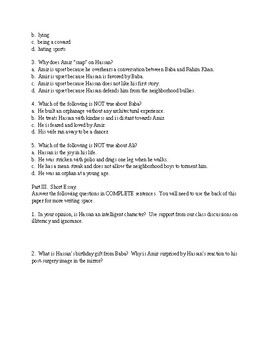 Kite Runner Quiz for chapters 1-5