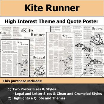 Kite Runner - Visual Theme and Quote Poster for Bulletin Boards