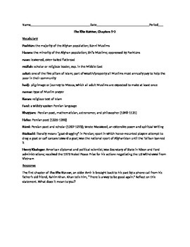 Kite Runner Vocabulary and Questions, Chapters 1-3