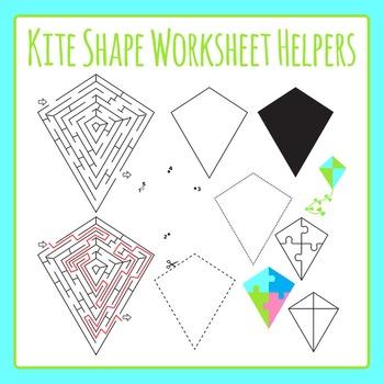 Kite Shape Worksheet Helpers Clip Art Set for Commercial Use
