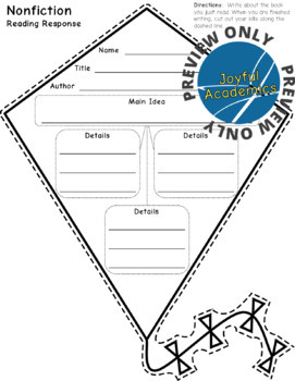 Kite Shaped Reading Response Sheets for Any Book