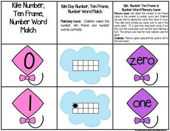 Kites 0-25 Number, Ten Frame & Number Word Match