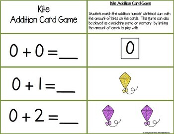 Kites Add & Subtract 0-10 Number Sentence Match