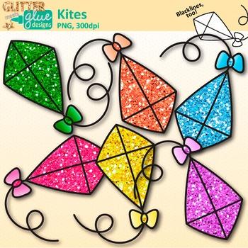 Flying Kite Clip Art {Rainbow Glitter Graphics for Spring