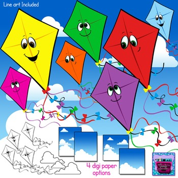 Kites and Clouds Clipart with faces and Sky Digi Paper