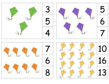 Kites Count & Clip 1- 20 Task Cards