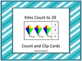 Kites Task Cards Math Counting to 20 Count and Clip Special Education Math