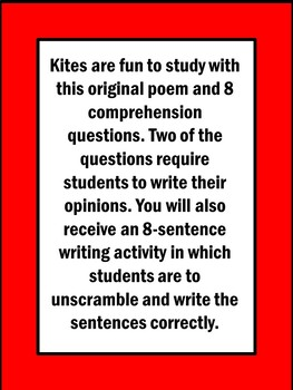 Kites Poem and Literacy Activities