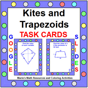 Kites and Trapezoids - TASK CARDS (20 cards)