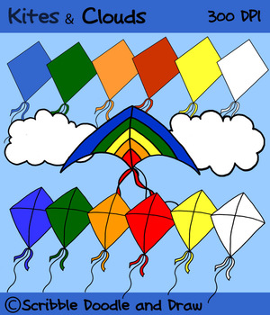Kites and clouds clip art