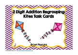 Kites 2 Digit Addition Regrouping Task Cards