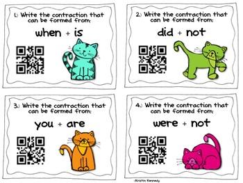 QR Code Task Cards: Kitten Contractions