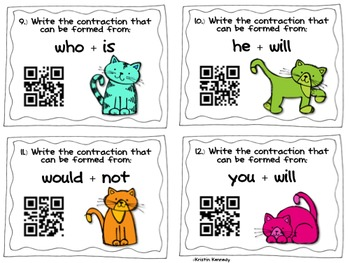 QR Code Task Cards: Contractions