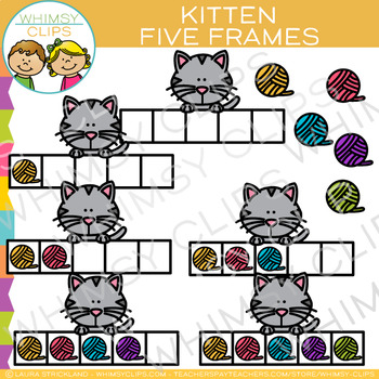 Kitten Five Frames Clip Art