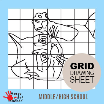 Kitten Grid Drawing Worksheet for Middle/High Grades