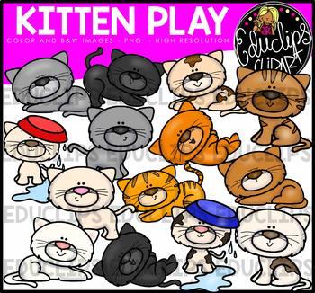 Kitten Play Clip Art Bundle {Educlips Clipart}