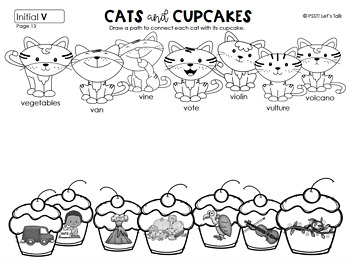 Kitten & String/Cupcake Articulation Word and Picture Match