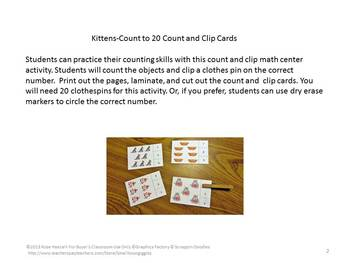 Cats Counting to 20, Count and Clip, Kindergarten Math, Special Education Math