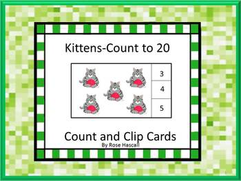 Kitten Task Cards Count and Clip Cards Counting to 20 Pres