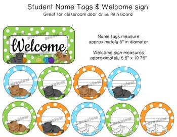 Kittens Desk Name Plates, Name Tag Labels, and Welcome Sign