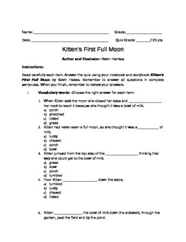 Kitten's First Full Moon Reading Comprehension Test