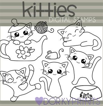 Kitties Black Line Art