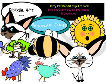 Kitty Cat Bandit Clipart Pack