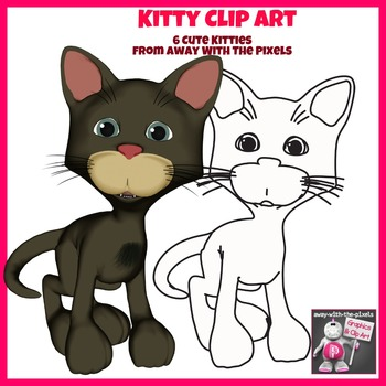 Kitty Cat Clip Art - 6 Color and 6  Black and White Clipart Images