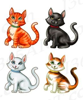 Kitty Cat Clipart Set Feline Hand Drawn Graphics