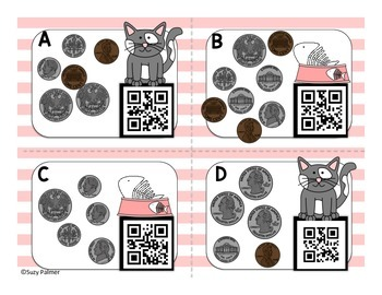 Kitty Cat Coin Counting Task Cards with QR Codes