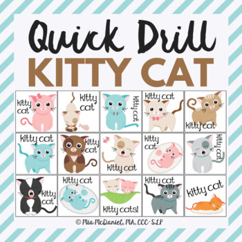 Kitty Cat Quick Drill {for articulation or fluency therapy & RTI}