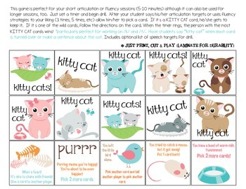 Quick Drill Kitty Cats {for speech therapy or any skill drill}