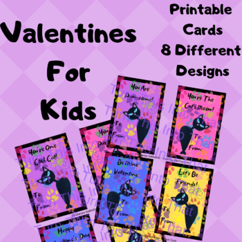 image about Printable Kids Valentines Cards titled Kitty Cat Valentine Playing cards for Small children - Valentines Card Printable - 8 programs