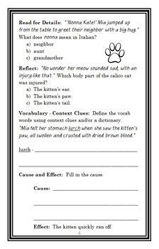 Kitty Corner: Callie (Ellen Miles) Novel Study / Comprehension  (28 pages)