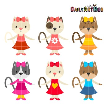 Kitty Girls Crawling Art Clip Art - Great for Art Class Projects!