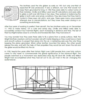 Kitty Hawk Wright Brothers Informational Text Activity