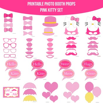 Kitty Pink Printable Photo Booth Prop Set