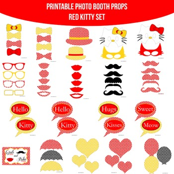 Kitty Red Printable Photo Booth Prop Set