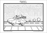 Kitty in a Car - Printable Colouring Page.