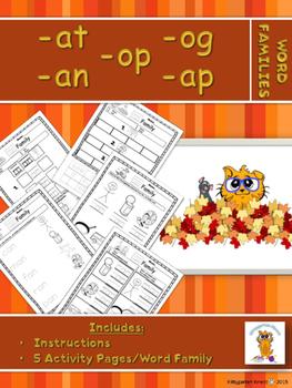 Kittygarten Kinect - No Prep - Fall - Word Families Packet 1