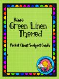 Kiwi Apple Green Linen Themed Pocket Chart Subject Schedule Cards and Calendar