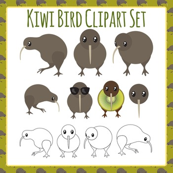 Kiwi Bird Clip Art Set for Commercial Use