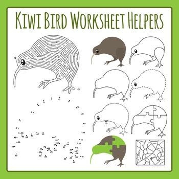 Kiwi Bird Worksheet Helpers Clip Art Pack for Commercial Use